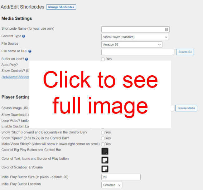 Click to open Shortcode Editor full image